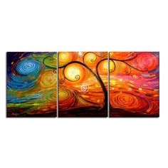 3-Piece Psychedelic Tree Canvas Painting Set & Reviews | Joss & Main