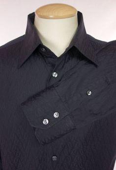 VERSACE Business Fit Mens Dress Shirt 42 16.5 L Large Black Signature V Embossed #Versace