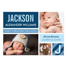 Announce the arrival of your baby boy in style with simple birth announcement cards that feature three photos of your baby in a modern color block collage with stripes design.  Navy blue, cloud blue, light blue and white colors.
