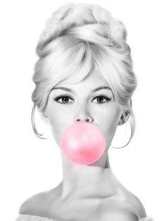 Brigitte Bardot Bubble Gum Black and White Poster, Fashion Pink Bubblegum, Printable Wall Art, Insta. Brigitte Bardot, Arte Marilyn Monroe, Marilyn Monroe Artwork, Pop Art Wallpaper, Glittery Wallpaper, Unisex Baby Names, Black And White Posters, Pink Bubbles, Blowing Bubbles