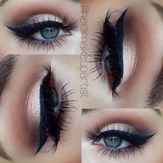 Heidi Hamoud (heidimakeupartist) used MAC studio finish concealer as base, makeupgeektv 'Creme brûlée' 'peach smoothie' & 'cocoa bear' in crease, MAC 'embark' in crease, MAC 'naked' pigment on lid, MAC 'light touch' pressed pigment on top, anastasiabeverlyhills 'ebony' brow powder on outer lid, MAC 'shroom' & 'naked lunch' in tear duct, MAC 'black track' fluid line
