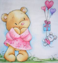 Bear in Pink Sweater & Mouse with Heart Balloons Tole Painting, Fabric Painting, Baby Cards, Kids Cards, Teddy Bear Images, Bear Pictures, Pintura Country, Heart Balloons, Bear Cartoon