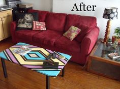 Painted coffee table...imagine the color combinations!  Would have to be in just the right room.
