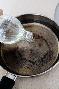 rather than soaking a burnt pan for days!!! or scrubbing forever... use stain remover either powder or gel, top up with boiling water and stand overnight.  Empty rinse and wash as normal.