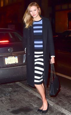 Karlie Kloss from The Big Picture  Street-style stripes! The model is seen sporting a classy, striped dress on the streets of New York City.