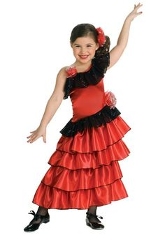 This girls Spanish flamenco dancer costume is a fun cultural costume idea for kids. You child can become a Spanish princess for Halloween in this flamenco dress.