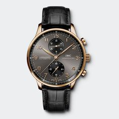 PORTUGUESE CHRONOGRAPH: CASE - 18-carat red gold; STRAP - black alligator leather strap; DIAL COLOUR - ardoise; REFERENCE - IW371482 (JL)