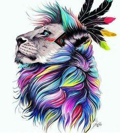 #inked #lion #colors #tattoo #tatuagem #alineymarques
