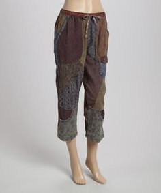 Green & Rust Patchwork Capri Pants by Sacred Threads Boutique #zulily #zulilyfinds