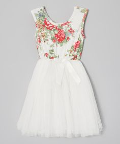 White Floral Tutu Cap-Sleeve Dress - Infant, Toddler & Girls