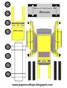 Cut-Fold and Glue-papercraft model-Brazilian car-Brasilia amarela Paper Model Car, Paper Car, Paper Models, Cardboard Toys, Paper Toys, Rc Chassis, Carros Vintage, Paper Train, House Template