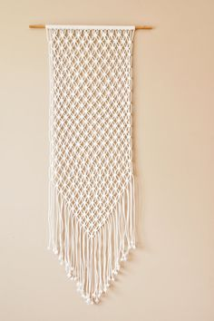 Large White Macrame Wall Hanging by TheVintageLoop on Etsy