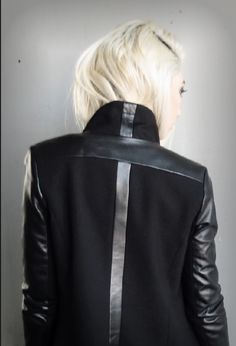 Cross on back, black leather sleeves jacket, Danier clothing