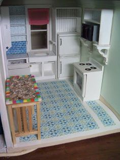 make your own barbie furniture. I Started Working On The Kitchen Floor Last Night. So Far I\u0027ve Glued 45 Tiles One At A Time To Posterboard Backing. Make Your Own Barbie Furniture