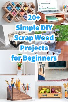 Love these! Great collection of easy DIY scrap wood projects and ideas! Small projects that are fun to make. Make organization, home decor, storage. These simple projects are perfect for beginner woodworking! #AnikasDIYLife #scrapwood #woodworking #woodworkingproject Wood Projects For Beginners, Scrap Wood Projects, Beginner Woodworking Projects, Wood Working For Beginners, Easy Projects, Woodworking Plans, Easy Diy, Organization, Storage
