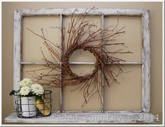 this might work with one of my windows. maybe a burlap backing with some decoration or pictures.