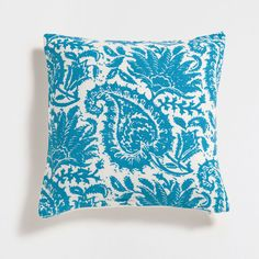 TURQUOISE PRINTED LINEN CUSHION COVER