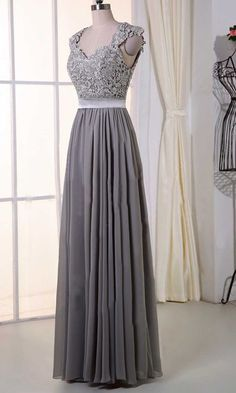 Gray Lace Cap Sleeves Long Bridesmaid Dresses KSP385