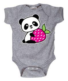 Look what I found on #zulily! Athletic Heather Panda Strawberry Kawaii Bodysuit - Infant #zulilyfinds