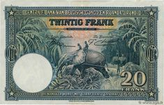 20 Francs BELGIAN CONGO 1952 P.23 VF. Reverse. Belgian Congo, Shots, African, World, Movie Posters, Painting, Collection, Central Bank, Brazil