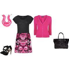 """Deep Winter - magenta/black"" by adriana-cizikova on Polyvore"