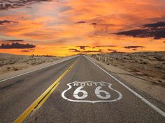 Rte 66 sunset on road.jpg