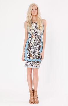Matte Microfiber Jersey Dress in Blue Animal, Jungle Prints SS15 by Hale Bob