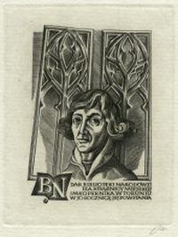 Portret Mikołaja Kopernika na ekslibrisie Książnicy Miejskiej w Toruniu - Jakubowski, Wojciech (1929 -)