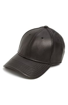 Gents Leather Baseball Cap Black One Size by: Gents @Nordstrom