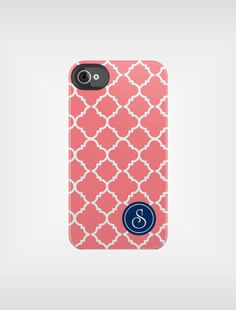 Personalized iPhone Case 4 / 4S or 3G - Coral Quatrefoil Navy Monogram- Custom Designed Cover - original design by a drop of golden sun.
