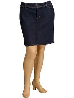 Womens Plus Denim Pencil Skirts