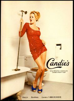 1997 ad for Candies shoes featuring Jenny McCarthy.