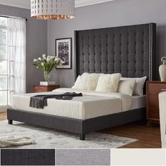 Looking for DIY Headboard Ideas? There are numerous economical means to produce an unique one-of-a-kind headboard. We share a couple of great DIY headboard ideas, to influence you to design your bedroom chic or rustic, whichever you prefer. High Headboard Beds, Grey Headboard, Tufted Bed, Grey Bedding, Headboards For Beds, Luxury Bedding, Bedding Sets, Headboard Ideas, Modern Bedding