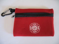 Fire Department Maltese Cross Zippered Red Neoprene Pouch with carabiner #Wallet