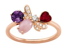 Chaumet - Bague - Attrape-moi... si tu m'aimes - Abeille - Or rose, Diamants, Opale rose, Améthyste, Grenat - 2013