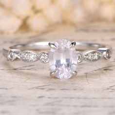 Oval Cut White Sapphire and Diamond Engagement Ring White Gold Milgrain Art Deco Antique Claw Prong White Sapphire, Star Sapphire, Diamond Settings, Conflict Free Diamonds, Antique Rings, Natural Diamonds, Diamond Engagement Rings, White Gold, Wedding Rings