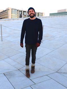Opera House, Oslo Sneakers: Adidas, Star Wars Limited Edition, Chewbacca. Jeans: Edwin Jeans Sweater: Filippa K Gloves: Filippa K Beanie: Norse Projects