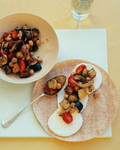 Roasted Eggplant, Zucchini, and Chickpea Wraps Recipe