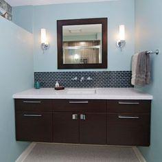 Stunning Floating Sink Cabinet Ideas : Dark Floating Sink Cabinets And Bathroom Vanity Ideas In Small Bathroom