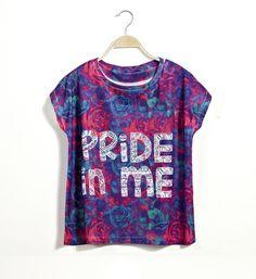 Letter Print Scoop Neck Short Sleeves Retro Style Cotton Blend T-Shirt For Women