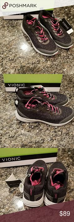 Vionic Agile Fyn Walker in Black and Gray Vionic Agile Fyn Walker in Black and Gray  Orthaheel Technology helps protect from over-pronation and reduce pains associated with it   Black Gray Pink Purple Vionic Shoes Athletic Shoes