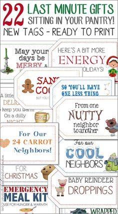 Weve got 22 no-prep last minute gifts for neighbors and friends using things you already have in your pantry! Just attach our free new printable tags. All Things Christmas, Christmas Holidays, Xmas, Printable Tags, Printables, Craft Gifts, Diy Gifts, Neighbor Gifts, Best Blogs