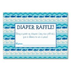 Surf 'N Fishies Diaper Raffle Tickets Large Business Cards (Pack Of Baby Sprinkle Games, Baby Sprinkle Invitations, Baby Shower Invitations, Sprinkle Shower, Pack Of Diapers, Diaper Raffle Tickets, Baby Shower Fun, For Your Party, Business Cards