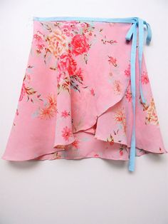 Cotton candy pink and blue floral ballet wrap skirt- Short