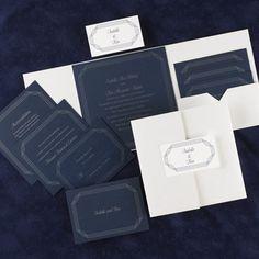Red, White & Blue Wedding Ideas -Elegant Navy/White Shimmer with Border Design (Invitation Link - http://www.occasionsinprint.com/pinterest-board---red-white--blue-wedding-invitations.html