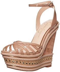 Jessica Simpson Womens Aimms Wedge Sandal Nude 9 M US >>> More info could be found at the image url.