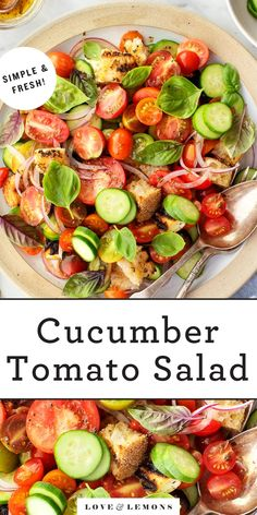 This cucumber tomato salad is a delicious summer side dish! Made with fresh basil, grilled croutons, and halloumi cheese, it's juicy, tangy, and complex. Best of all, it comes together in minutes!   Love and Lemons #salad #tomatoes #cucumber #sidedish