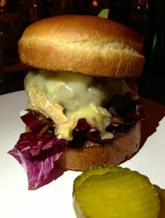 The Red Hawkburger at Prospect w/Cowgirl Creamery RedHawk Cheese, radicchio and caramelized red onions