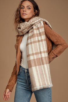 Take your look to the next level with the Lulus Snuggle-Worthy Beige Multi Reversible Print Scarf! Oversized scarf with plaid and leopard prints. Cozy Scarf, Plaid Scarf, Plaid And Leopard, Leopard Prints, Retro Clothing, Oversized Scarf, Striped Scarves, Retro Outfits, Square Scarf