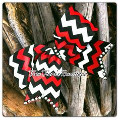 Chevron Cheer Bow Red black white with Bling on Etsy, $10.00 or Facebook by Two Tiara's Bowtique